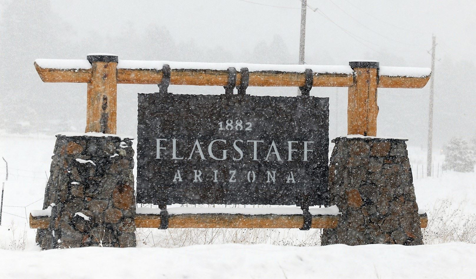 Flagstaff Arizona Gateway in Snowstorm